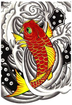 Koi Fish Tattoo Designs for Men Koi Fish Drawing, Fish Drawings, Animal Drawings, Koi Fish Colors, Colorful Fish, Koi Fish Tattoo Meaning, Cow Fish, Fish Sketch, Koi Art