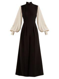 Roksanda Torno Contrast-sleeved Jumpsuit In Black White Muslim Fashion, Modest Fashion, Hijab Fashion, Fashion Dresses, Elegant Dresses, Pretty Dresses, Vintage Dresses, Mode Abaya, Mode Hijab