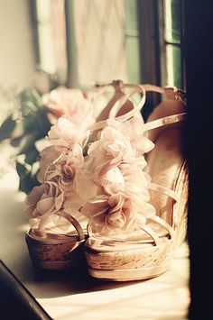 Less bling, but still gorgeous! Wedding shoes (: Wedding Shoes: Peach ruffled wedges