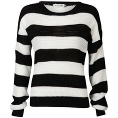 Moku Women's Monochrome Stripe Jumper (€13) ❤ liked on Polyvore featuring tops, sweaters, shirts, long sleeves, jumper, long sleeve shirts, crewneck shirts, striped sweater, long sleeve stripe shirt and striped long sleeve shirt