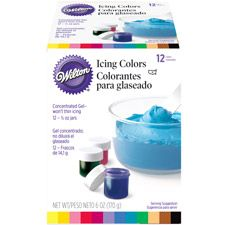 12 Icing Colors Set  Popular colors in 1/2 oz. jars. Kelly Green, Violet, Pink, Brown, Lemon Yellow, Black, No-Taste Red, Royal Blue, Golden Yellow, Burgundy, Teal and Copper (Lt. Skintone). Certified Kosher.