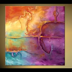 Original abstract art paintings by Osnat - pink lavender yellow abstract decor