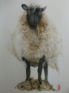 Het schaap. Schaap uit Leersum, wat flink in de wol zat. Marie-Hélène Stokkink