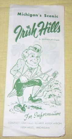 "This is a vintage Irish Hills Michigan pamphlet from the 1950's. Unfolds to show a map and pictures such as the sports park, tower, Frontier City, Mystery Hill etc. Measures 4 1/4"" by 9 1/2""."