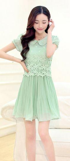 Short Sleeve Ruffled Chiffon Dress YRB0500 £14.90