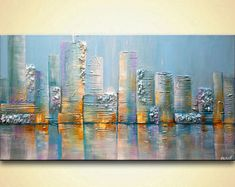 Abstract Cityscape Art Paintings for Sale – Modern Art by Osnat Cityscape painting – Salt City Skyline Painting, Cityscape Art, City Painting, Acrylic Painting Canvas, Canvas Art, Painting Art, Knife Painting, Abstract Paintings, Art Paintings For Sale