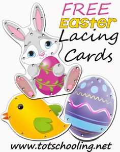 Free Easter Lacing Cards | Totschooling - Toddler and Preschool Educational Printable Activities