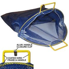 """Large Coated Galvanized Wire Handle Mesh Catch Bag with D-Ring, Blue 24"""" x 28"""" Neptune Diving Company http://www.amazon.com/dp/B00K2ZADSC/ref=cm_sw_r_pi_dp_S98Xvb0SR8SX6"""
