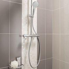 mosaique_mur_loft_blanc_lin_n_1 Taupe Bathroom, Basement Bathroom, Modern Bathroom, Small Bathroom, Master Bathroom, Basin Cabinet, Archi Design, Scandinavian Bathroom, House Tiles