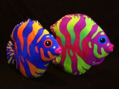 neon bright tropical fish painted rocks, fantastic faded ombre effect! by batgirl1216