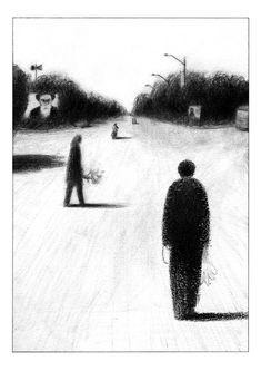 Ash, a short story for Black – Coconino Press, 2008 Ligne Claire, Art Folder, Art Graphique, Art Sketchbook, Aesthetic Art, Dark Art, Traditional Art, Art Inspo, Comic Art