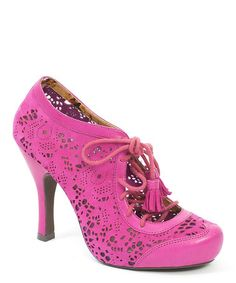 Loving this Magenta Eyelet Lace-Up Anais Suede Pump - dont know if id wear these, but they're so cool!