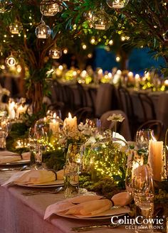 10 Unbelievably Creative Centerpiece Ideas: Delicate fairy lights placed inside of bell jars or terrariums bring a touch of whimsy to any table setting. Photo by Colin Miller; Event by Colin Cowie Celebrations