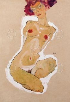 Squatting Female Nude art print by Egon Schiele
