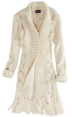 Long cardigan knit sweater - fall and winter fashion style Fashion Moda, Look Fashion, Womens Fashion, Petite Fashion, Curvy Fashion, Fall Fashion, Lace Sweater, Sweater Coats, Big Sweater