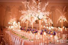 Lavishly elegant wedding reception centerpieces at the Henry Clay in Louisville.  Photo by David Blair photography