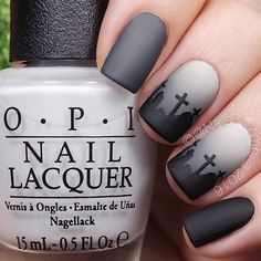 WEBSTA @ nailsbycambria - Matte gray-veyard nails for day 3 of #31daysofhalloweennailsbycambria  Get it? Tutorial will be up today!@opi_products I Cannoli Wear OPI, Black Onyx, and Matte Top Coat@chinaglazeofficial Recycle and Concrete Catwalk@twinkled_t Clean Cuticle Peel Off Tape and #6 Cleanup Brush | 10% off with code CAMBRIA@sechenails Seche Vite@whatsupnails Graveyard stencils