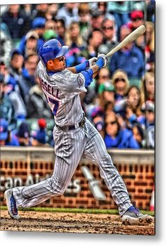 Addison Russell Metal Print featuring the painting Addison Russell Chicago Cubs by Joe Hamilton