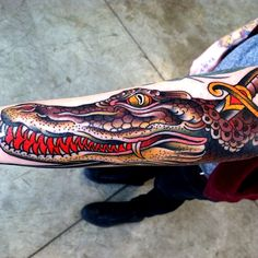16 Ferocious Crocodile and Alligator Tattoos Alligator Tattoo, Crocodile Tattoo, Traditional Tattoo Man, Cool Tats, American Traditional, Body Piercings, Body Modifications, Tattoos With Meaning, Tattoo You