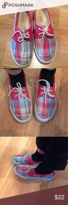 Ralph Lauren sneakers Good condition shoes with plaid pink design Lauren Ralph Lauren Shoes Sneakers