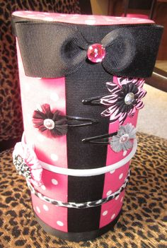 Pink polka dots headband holder. $12.00, via Etsy.