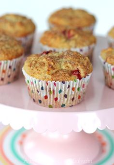 Strawberry Rhubarb Oatmeal Muffins - A Pretty Life In The Suburbs ~~ I made a double batch of these and they lasted about a day. So good!! I didn't have rhubarb, so I threw in some blueberries. A great muffin recipe.