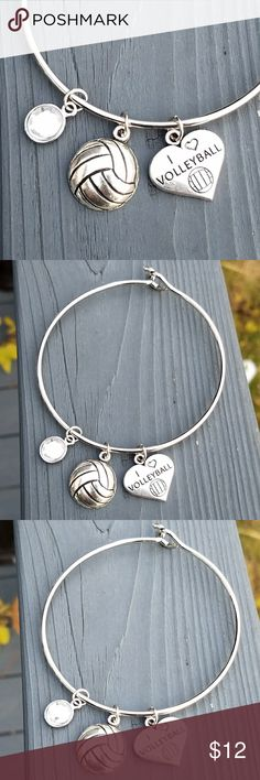 """New volleyball bracelet, sports bracelet This is a brand new one size fits all bracelet. The volleyball charm is a little over 1/2 inch. The """"I ❤ volleyball"""" charm is 3/4 inch. The clear crystal charm is 1/4 inch. Jewelry Bracelets"""