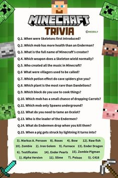 Minecraft Party Activities, Diy Minecraft Birthday Party, Minecraft Games, Activities For Kids, Minecraft Posters, Minecraft School, Minecraft Crafts, Trivia Questions For Kids, Quiz Questions And Answers