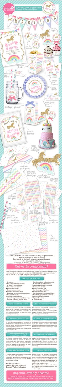 Kit imprimible unicornio y arcoiris. Decoración para fiestas y cumpleaños. Shabby chic, estilo romántico. Colores pastel. Invitación digital. Decoración de fiestas infantiles y eventos. https://www.facebook.com/DecoraTuCumpleanos/?ref=hl