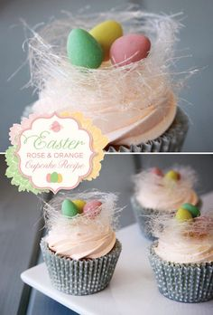 Easter Rose and Orange Cupcake Recipe (+ Chocolate Egg Filled Sugar Nests) by our newest contributor Tessa Lindow Huff of The Frosted Cake Shop!