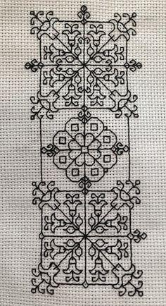 Motifs Blackwork, Blackwork Cross Stitch, Cross Stitch Borders, Cross Stitch Designs, Cross Stitching, Cross Stitch Patterns, Kasuti Embroidery, Cross Stitch Embroidery, Beginner Embroidery