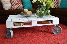 Mesa de palet con ruedas