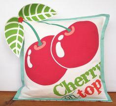 Cherry on Top 3D cushion -  handmade funky retro nursery wedding baby quirky  £30.00