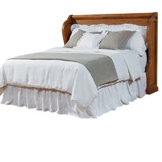 It's easy to see the inspiration for the nostalgic Church Pew Bed from the Farmhouse Bedroom collection with its pew shaped wings around shiplap headboard panels. It has an inviting worn-in character