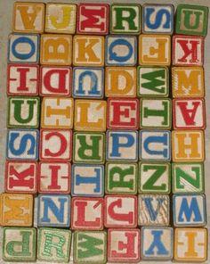 Love these! 48 Very Old Playskool Halsam ALPHABET Wood Blocks with Original Bag No. 550 - Vintage Toy