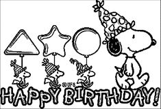 Snoopy-Birthday-Cards-Coloring-Page - Wecoloringpage Snoopy Coloring Pages, Pokemon Coloring Pages, Pattern Coloring Pages, Coloring Pages For Boys, Coloring Books, Coloring Sheets, Colouring, Snoopy Birthday, Snoopy Party