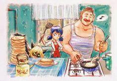 Cocinando con mi papá y chat comiendo