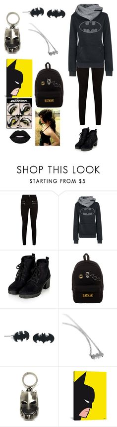"""""""Batman's My Hero"""" by wingsofafairy ❤ liked on Polyvore featuring Paige Denim, WithChic, Bioworld, Metal Mixology, iCanvas, Lime Crime and Tuttle"""