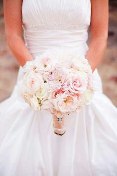 A Blush & White Bouquet Composed Of: Blush Dahlias, White Dahlias, Blush Roses, White Roses, Blush English Garden Roses, Blush Garden Roses, White Garden Roses, White Ranunculus}