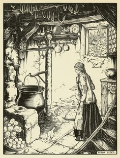 Anton Pieck: birds removing the lentils from the ash