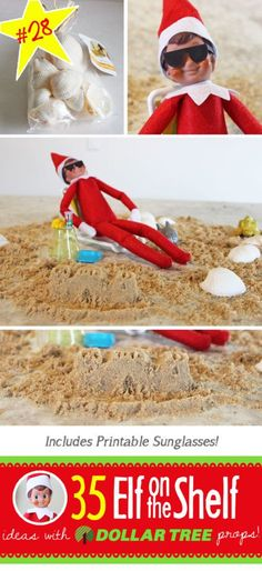 35 BRAND NEW Elf on the Shelf ideas for this year! These fun, creative & EASY Elf on the Shelf ideas all include an item from the Dollar Tree! #Christmas #ElfOnTheShelf #Ideas #Easy #Funny #Toddler #DIY