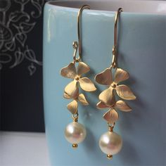Cascading Gold Orchid and Swarovski Pearl Wedding Earrings