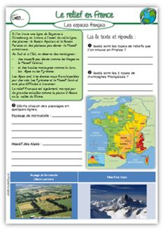 Géographie CE2 French Grammar, Ville France, Cycle 3, Learn French, Geography, Learning, School, Kids, France