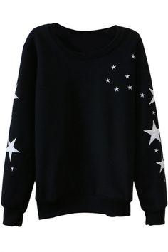 Black Stars Print Round Neck Long Sleeve Sweatshirt, sweatshirt, sweater, astronomy
