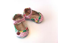 MONROE baby girl shoes Green flower with pink by HarperDaisy