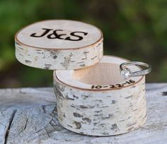 Rustic Wood Ring Boxes