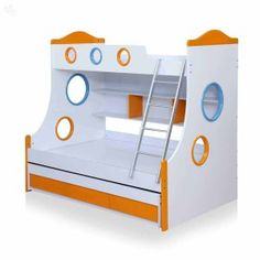 Pepperfry  Buy Remo Bunk Bed with Storage in Glossy White & Orange Colour by Royal Oak at Rs 32348