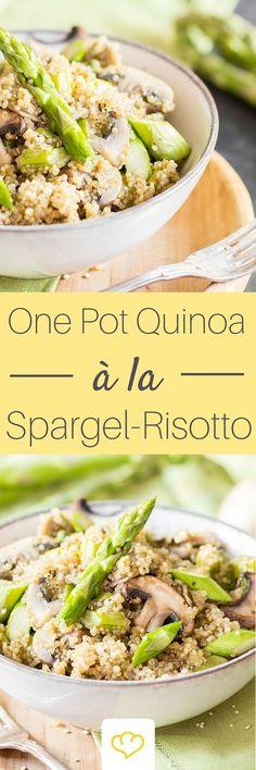 Quinoa? Risotto? Quinoa als Risotto – wunderbar schlotzig, cremig, zart. Weißwein für den Geschmack, Parmesan für die Konsistenz und grüner Spargel für die Frühlingsgefühle.