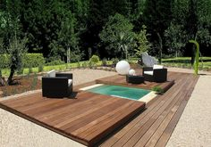 inground swimming pool-spa with wood cover. Saw similar picture years ago with a pool that was otherwise used as an entertaining deck Small Inground Swimming Pools, Mini Swimming Pool, Small Backyard Pools, Small Pools, Swimming Pool Designs, Outdoor Swimming Pool, Pool Spa, Small Backyards, Sloped Backyard
