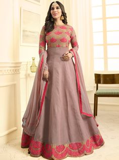 Wholesale Occasional Wear Anarkali Style Embroidered Raw Silk Gown Suit At Factory rates.LKFABKART Is Leading Salwaar Suit Wholesale Supplier. Punjabi Fashion, Ethnic Fashion, Bollywood Fashion, Woman Fashion, Silk Anarkali Suits, Anarkali Gown, Salwar Suits, Floor Length Anarkali, Long Anarkali